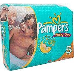 Pampers Baby-Dry Diapers for Kids Size 5, 27lb+, Disposable, Latex-free - Qty: PK of 22 EA