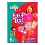 Pampers Easy-Up Trainers Girls Pull-Up Diapers Size 5, 30 to 40lb, Disposable, Latex-free - Qty: BG of 23 EA