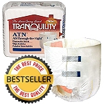 Tranquility ATN All-Through-The-Night Disposable Briefs Each Pair Holds 34 Ounces of Fluid